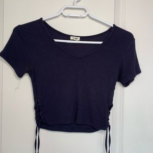 Cropped ribbed tie up tshirt